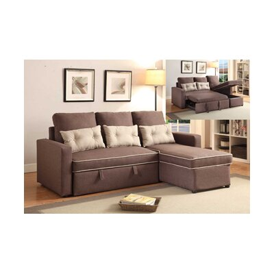 Cosmopolitan Sleeper Sectional Upholstery: Dark Brown