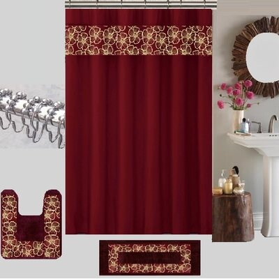 Berlin Shower Curtain Set Color: Burgundy/Beige
