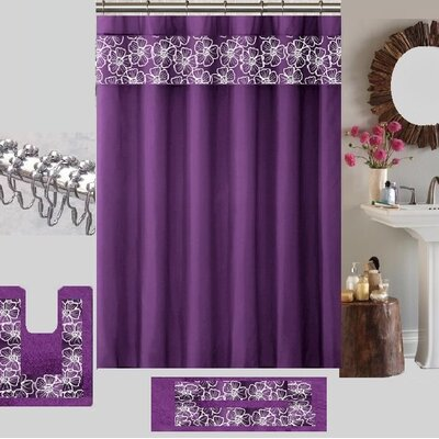Berlin Shower Curtain Set Color: Purple/White