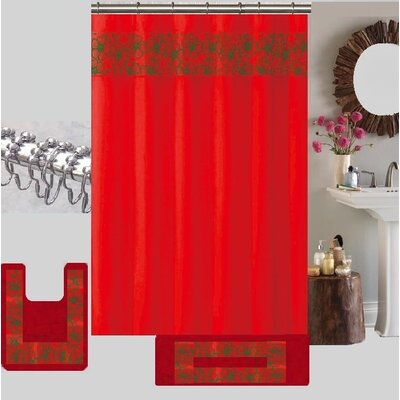 Berlin Shower Curtain Set Color: Red/Green