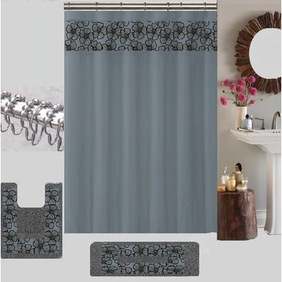 Berlin Shower Curtain Set Color: Gray/Black