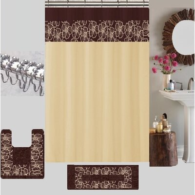 Berlin Shower Curtain Set Color: Beige/Brown