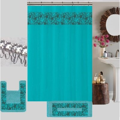 Berlin Shower Curtain Set Color: Turquoise/Gray