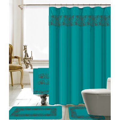 Elysee 18 Piece Embroidery Shower Curtain Set Color: Turquoise