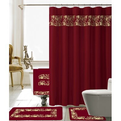 Elysee 18 Piece Embroidery Shower Curtain Set Color: Burgundy/Gold
