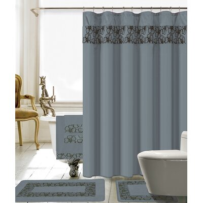 Elysee 18 Piece Embroidery Shower Curtain Set Color: Gray/Black