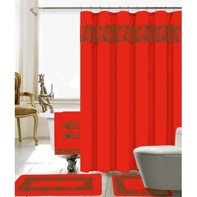 Elysee 18 Piece Embroidery Shower Curtain Set Color: Red