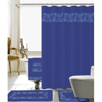 Elysee 18 Piece Embroidery Shower Curtain Set Color: Navy