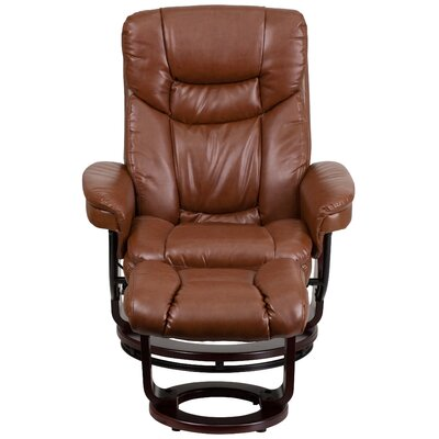 Lahaye Indigo Recliner and Ottoman Upholstery: Brown