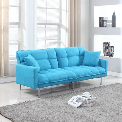Winslow Modern Plush Tufted Convertible Sofa Upholstery: Blue