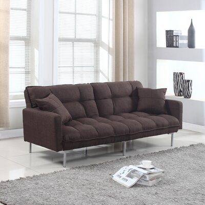 Frederick Modern Plush Tufted Convertible Sofa Upholstery: Brown