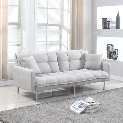 Frederick Modern Plush Tufted Convertible Sofa Upholstery: Light Grey