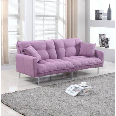 Winslow Modern Plush Tufted Convertible Sofa Upholstery: Light Purple