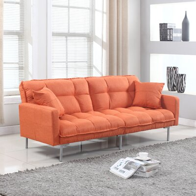 Winslow Modern Plush Tufted Convertible Sofa Upholstery: Orange