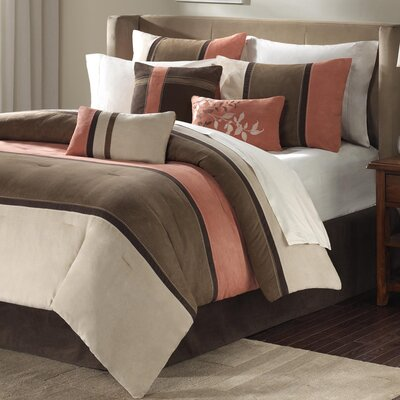 Woodfield 7 Piece Reversible Comforter Set Size: Queen, Color: Coral / Natural
