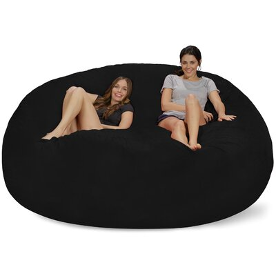 Extra Large Microsuede Bean Bag Sofa Upholstery: Black
