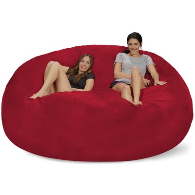 Extra Large Microsuede Bean Bag Sofa Upholstery: Cinnabar