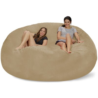 Extra Large Microsuede Bean Bag Sofa Upholstery: Camel