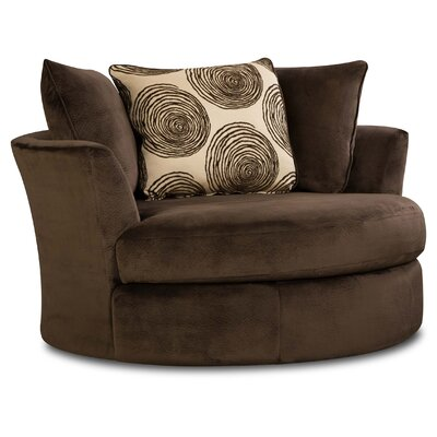Rayna Swivel Barrel Chair Upholstery: Groovy Chocolate / Big Swirl Chocolate