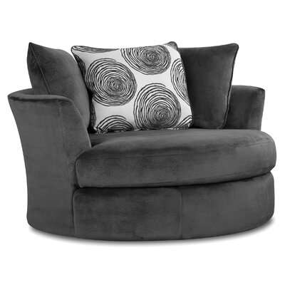 Rayna Swivel Barrel Chair Upholstery: Groovy Smoke / Big Swirl Smoke