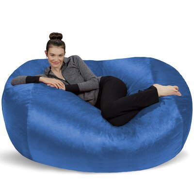 Microsuede Bean Bag Lounger Upholstery: Blue