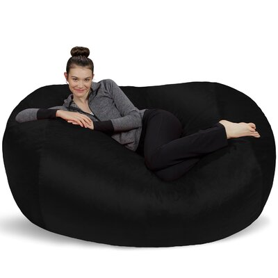 Microsuede Bean Bag Lounger Upholstery: Black