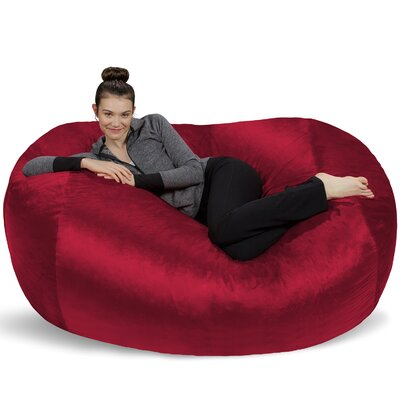 Microsuede Bean Bag Lounger Upholstery: Red