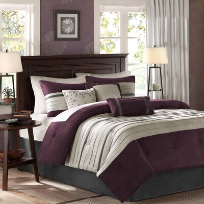 Shandra 7 Piece Reversible Comforter Set Color: Plum, Size: Full