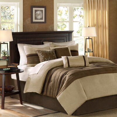 Shandra 7 Piece Reversible Comforter Set Color: Natural, Size: Full