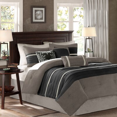 Shandra 7 Piece Comforter Set Size: Queen, Color: Black / Silver