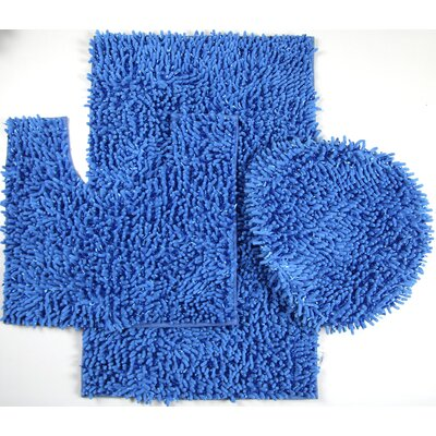 Wessex 3 Piece Mix Chenille Bath Mat Set Color: Blue