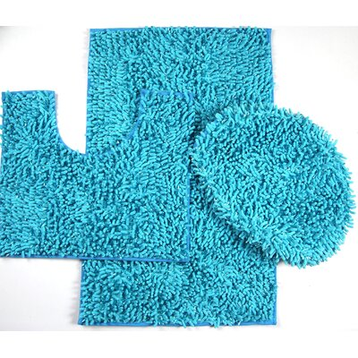 Wessex 3 Piece Mix Chenille Bath Mat Set Color: Turquoise