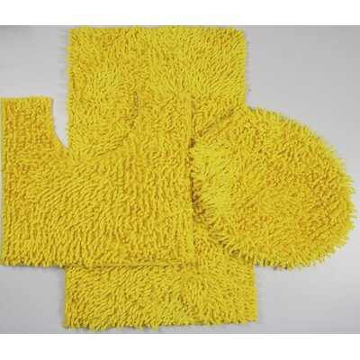 Van Wyck 3 Piece Mix Chenille Bath Mat Set Color: Yellow