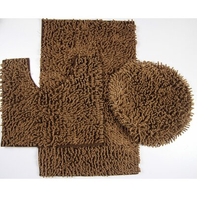 Van Wyck 3 Piece Mix Chenille Bath Mat Set Color: Brown
