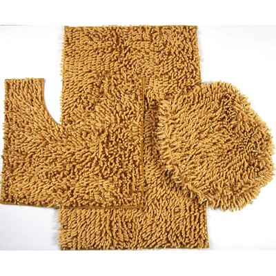 Wessex 3 Piece Mix Chenille Bath Mat Set Color: Gold