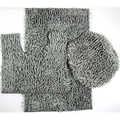 Wessex 3 Piece Mix Chenille Bath Mat Set Color: Gray