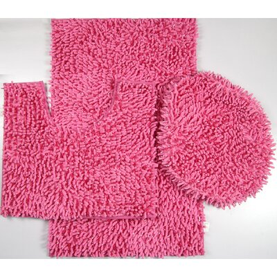 Van Wyck 3 Piece Mix Chenille Bath Mat Set Color: Hot Pink