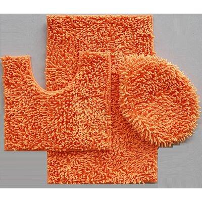 Van Wyck 3 Piece Mix Chenille Bath Mat Set Color: Orange