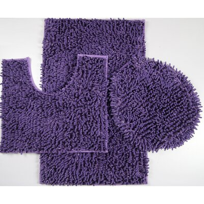 Wessex 3 Piece Mix Chenille Bath Mat Set Color: Purple