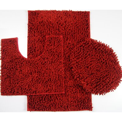 Wessex 3 Piece Mix Chenille Bath Mat Set Color: Red