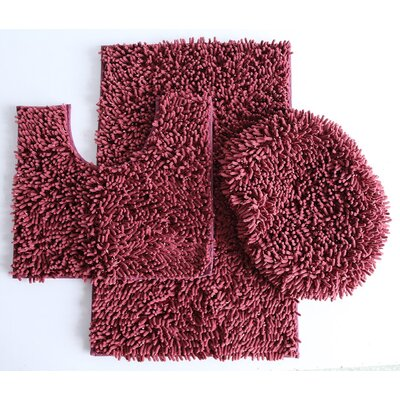 Van Wyck 3 Piece Mix Chenille Bath Mat Set Color: Wine