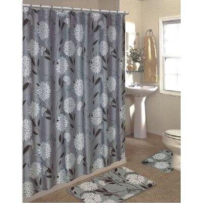 Lochian 15 Piece Shower Curtain Set Color: Gray