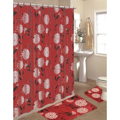 Lochian 15 Piece Shower Curtain Set Color: Burgundy