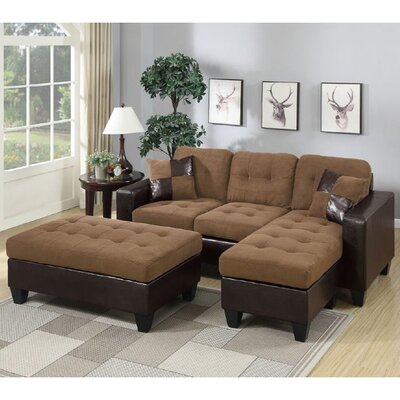 Glosco Sleeper Sectional Upholstery: Saddle Tan