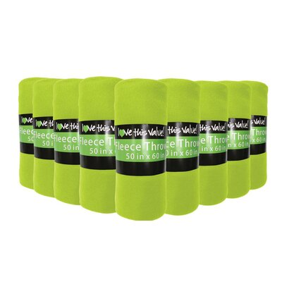 Windsor Lane Soft Warm Fleece Throw Blanket Color: Lime Green