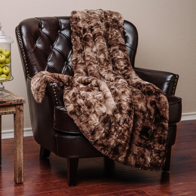 Trio Super Soft Fuzzy Fur Warm Cozy Sherpa Throw Blanket Size: 70 L x 60 W, Color: Chocolate