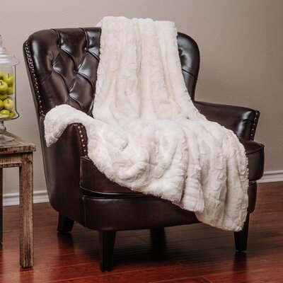Trio Super Soft Fuzzy Fur Warm Cozy Sherpa Throw Blanket Size: 90 L x 90 W, Color: Ivory