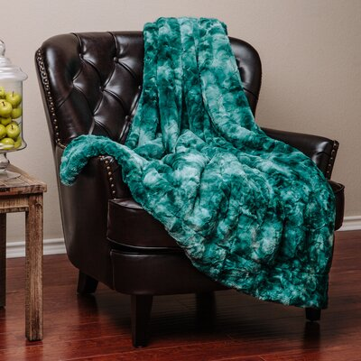 Trio Super Soft Fuzzy Fur Warm Cozy Sherpa Throw Blanket Size: 90 L x 90 W, Color: Teal
