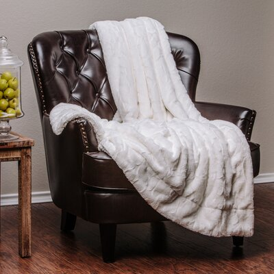 Trio Super Soft Fuzzy Fur Warm Cozy Sherpa Throw Blanket Size: 70 L x 60 W, Color: White