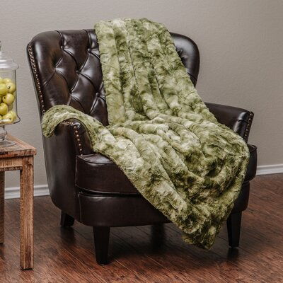 Trio Super Soft Fuzzy Fur Warm Cozy Sherpa Throw Blanket Color: Green, Size: 65 L x 50 W